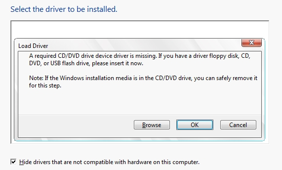 A required CD/DVD drive device driver is missing. If you have a driver floppy disk, CD, DVD, or USB flash drive, please insert it now.