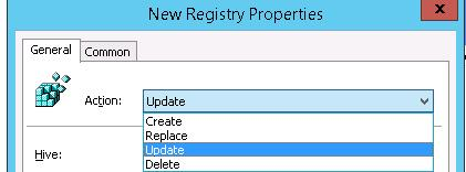registry item actions