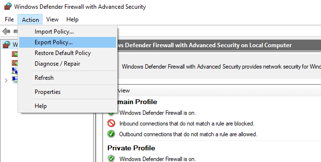 export windows defender firewall rules to wfw file