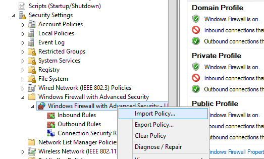 import firewall settings to the gpo