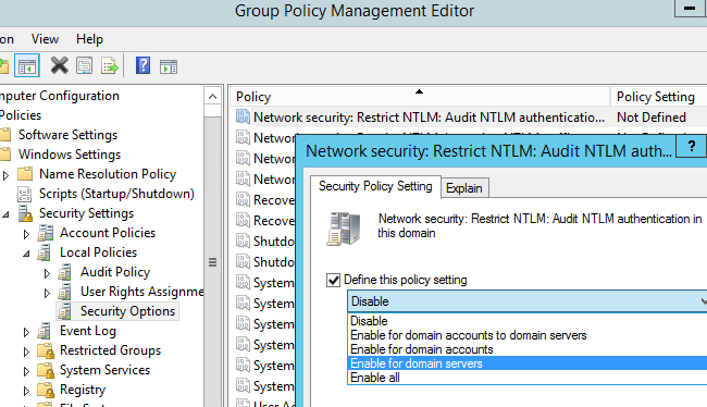 disable ntlm in domain GPO: Network Security: Restrict NTLM: NTLM authentication in this domain