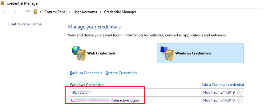 windows saved credentials