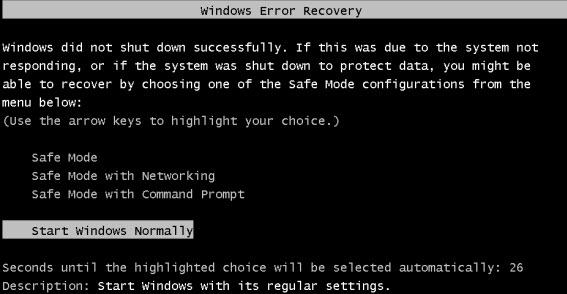 Windows Error Recovery