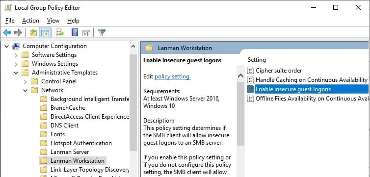 windows 10 Enable insecure guest logons policy