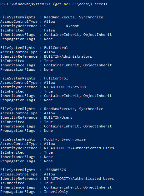 list ntfs access permissions with powershell