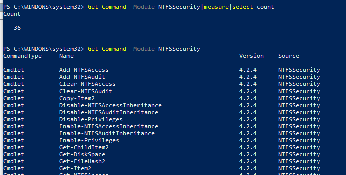 NTFSSecurity powershell module