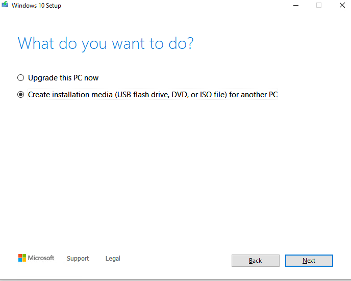 MediaCreationTool Create Windows 10 install media